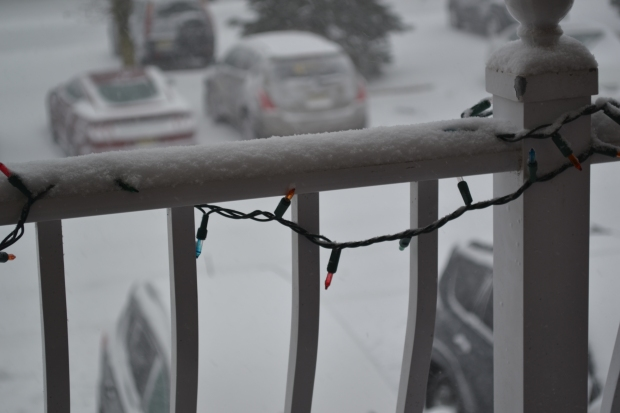 lights and snow on railing